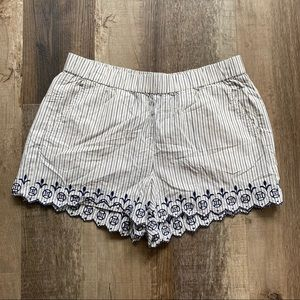 Madewell Striped Embroidered Shorts